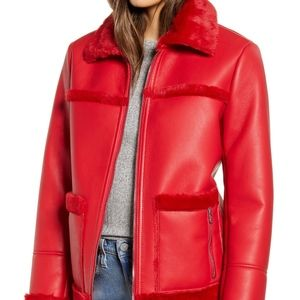Faux Fur Trim Faux Leather Jacket | SAM EDELMAN